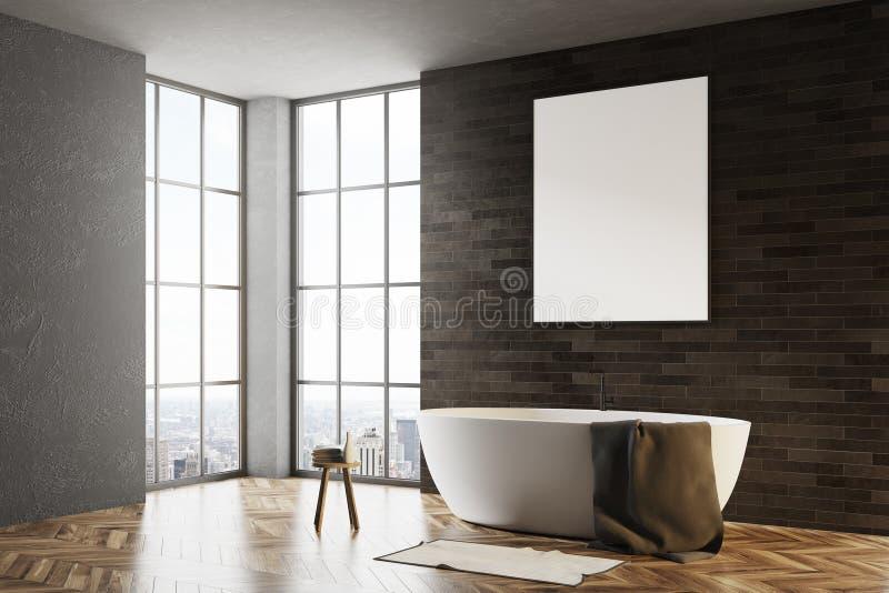 Чернота и ванная комната кирпича, сторона плаката иллюстрация вектора
