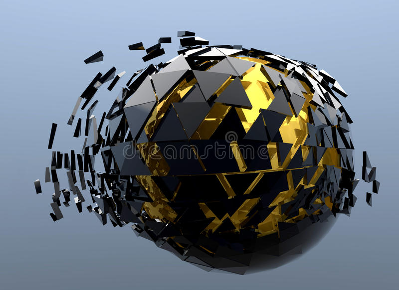 Чернота и золото 3d разрушенное сферой абстрактное иллюстрация вектора