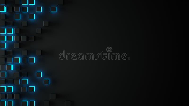 Чернота и накаляя голубое 3D кладут абстрактную предпосылку в коробку иллюстрация вектора
