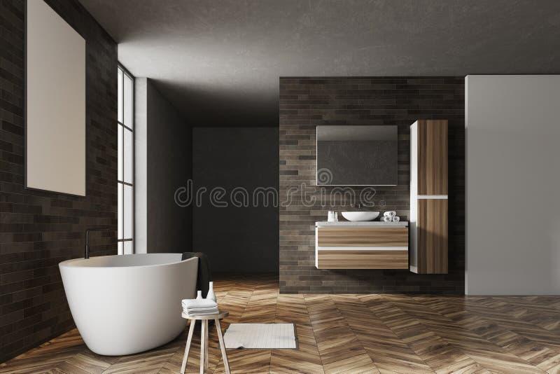Чернота и плакат интерьера ванной комнаты кирпича бесплатная иллюстрация