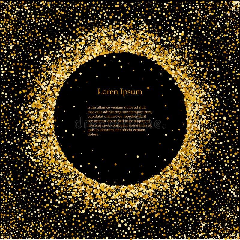 Чернота и предпосылка золота с рамкой круга и космос для текста Украшение яркого блеска вектора, золотая пыль большая для иллюстрация вектора