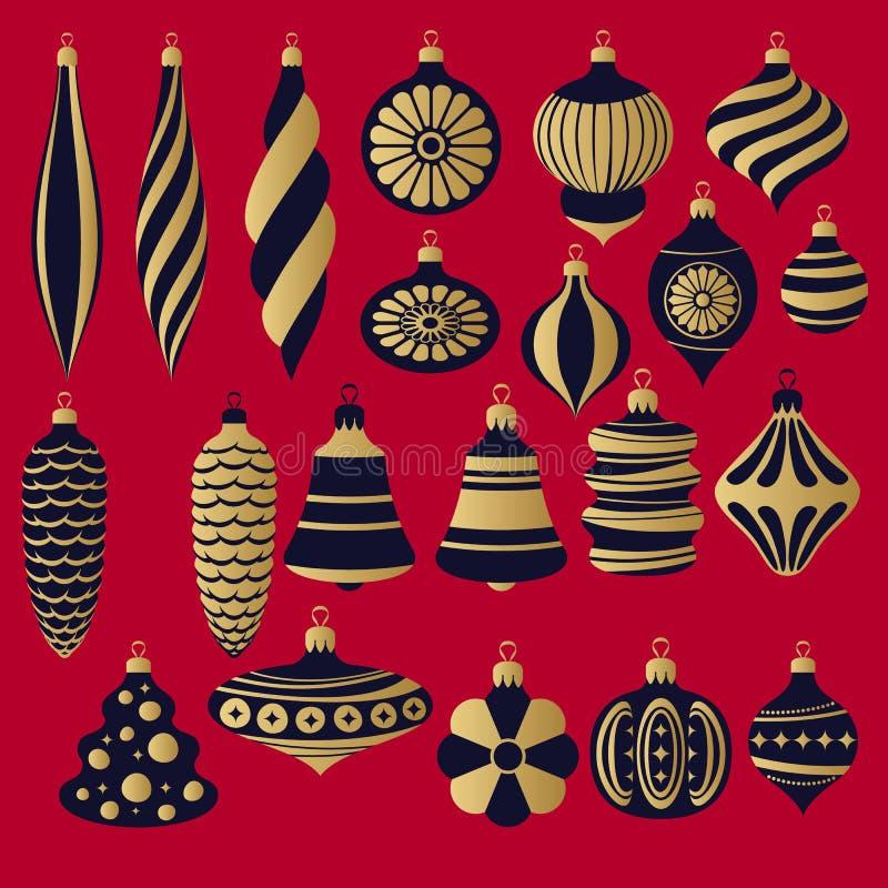 Чернота и установленные безделушки золота ретро Декоративные шарики рождественской елки иллюстрация вектора