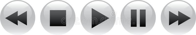 Чернота кнопок паузы стопа игры иллюстрация штока