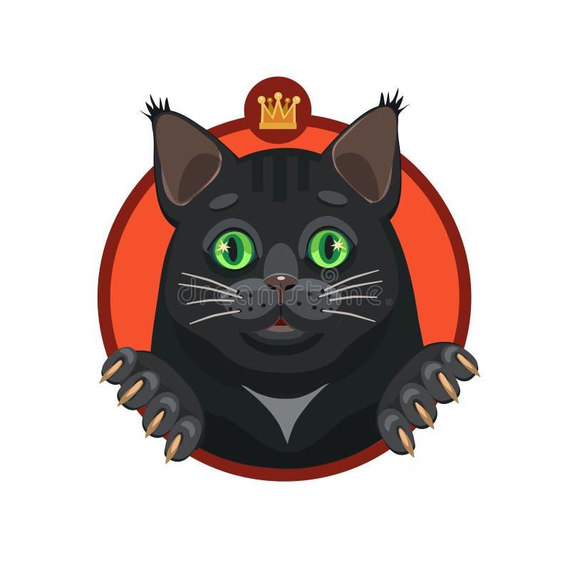 Чернота кота с зелеными глазами иллюстрация штока