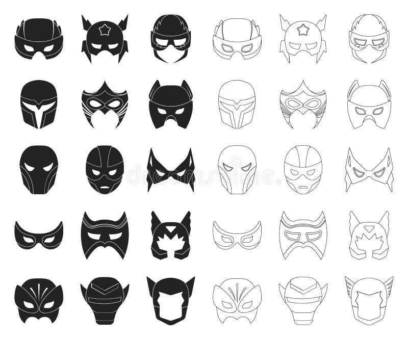 Чернота маски масленицы, значки плана в установленном собрании для дизайна Маска на сети запаса символа вектора глаз и стороны иллюстрация вектора