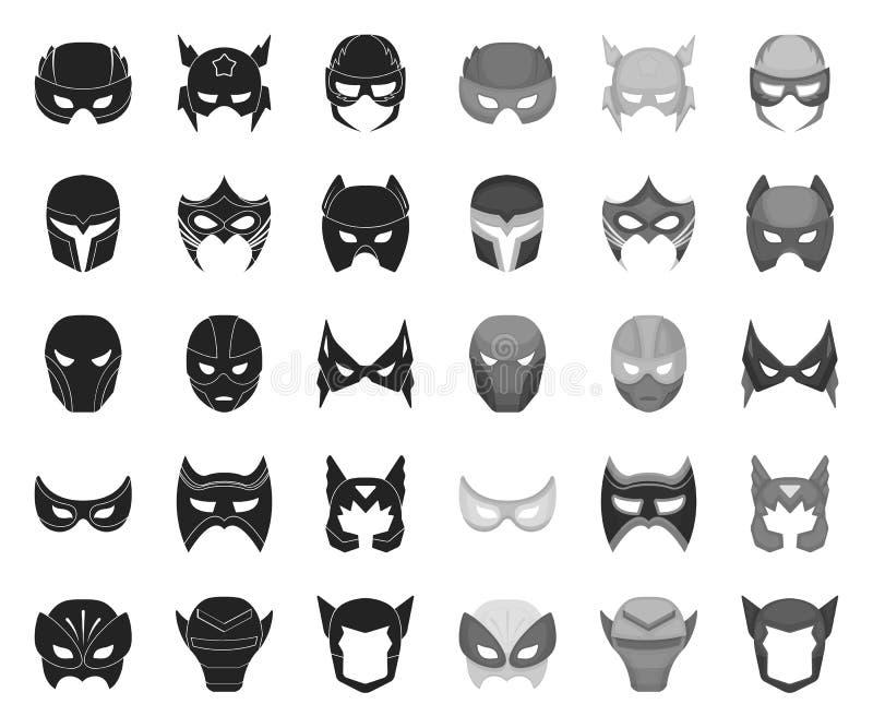 Чернота маски масленицы mono значки в установленном собрании для дизайна r иллюстрация вектора