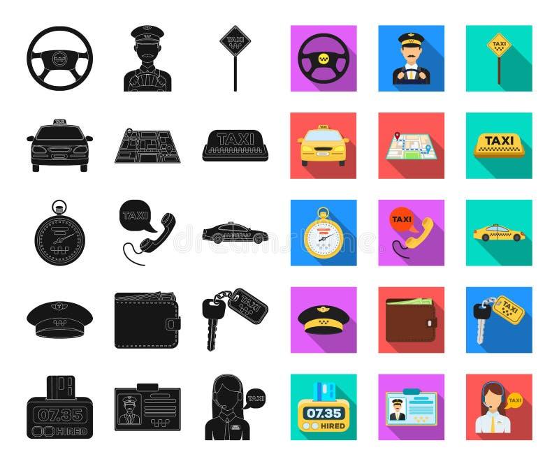 Чернота обслуживания такси, плоские значки в установленном собрании для дизайна Сеть запаса символа вектора водителя такси и пере иллюстрация штока