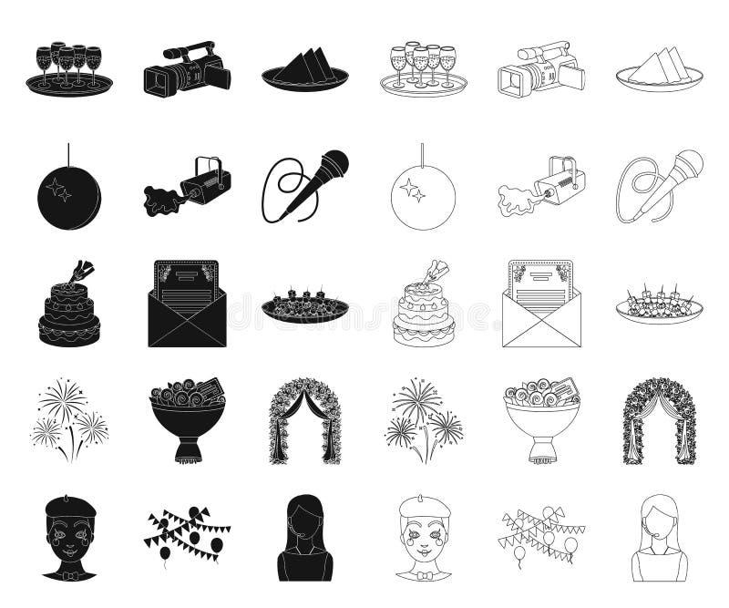 Чернота организации события, значки плана в установленном собрании для дизайна Сеть запаса символа вектора торжества и атрибутов бесплатная иллюстрация