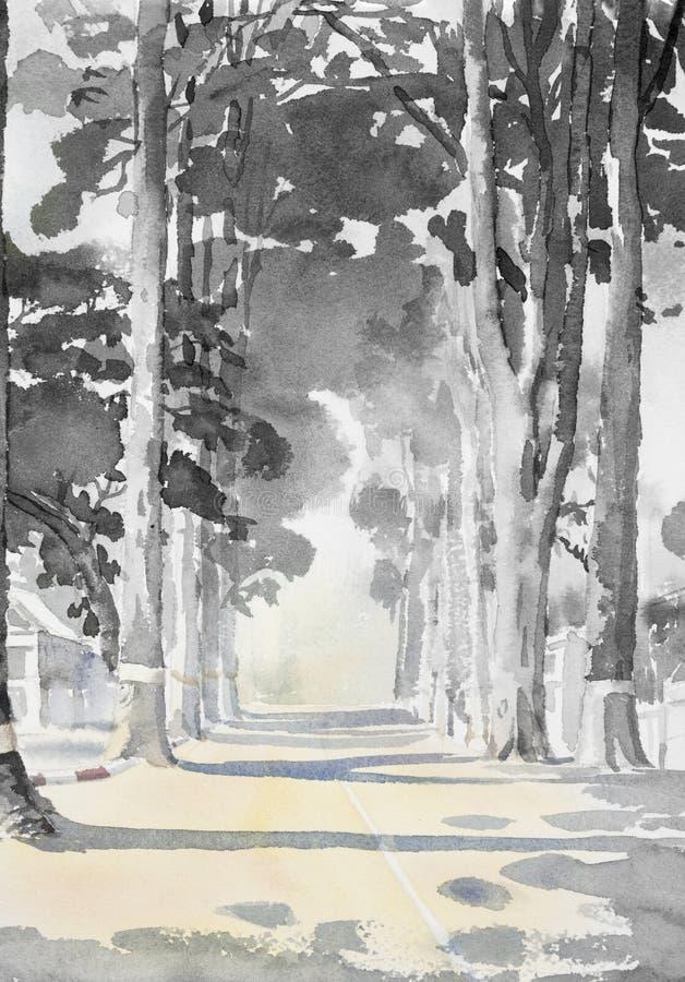 Чернота пейзажной живописи акварели, белый цвет деревьев тоннеля иллюстрация вектора