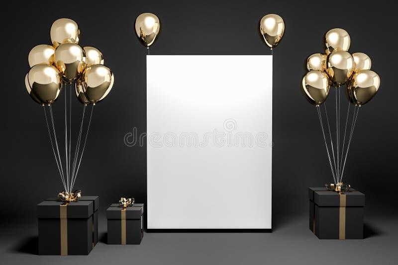 Чернота представляет с воздушными шарами золота, насмешкой вверх по плакату иллюстрация штока