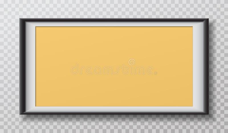 Чернота прямоугольника, желтая рамка с мягкой тенью для текста или изображение вися на приданной квадратную форму белой предпосыл иллюстрация вектора