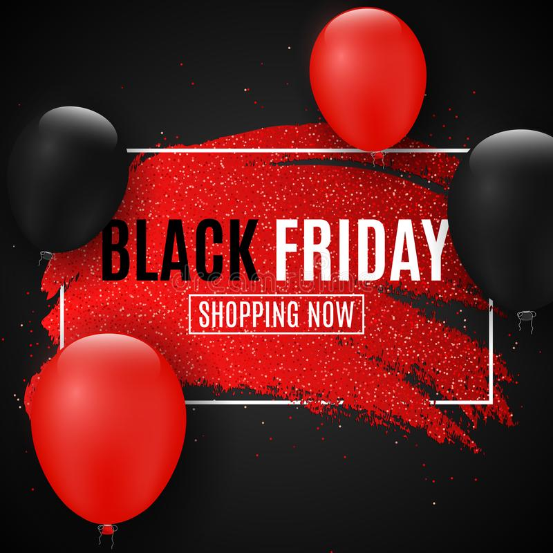 Чернота пятница знамени сети для продажи Линия Grunge с яркими блесками Реалистические воздушные шары Темная предпосылка большие  бесплатная иллюстрация