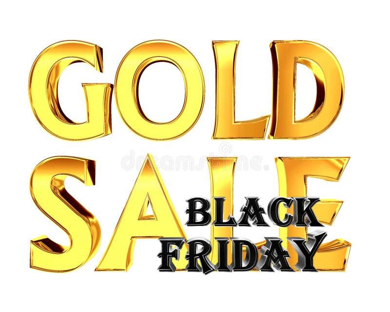 Чернота пятница продажи золота текста золота на белой предпосылке бесплатная иллюстрация