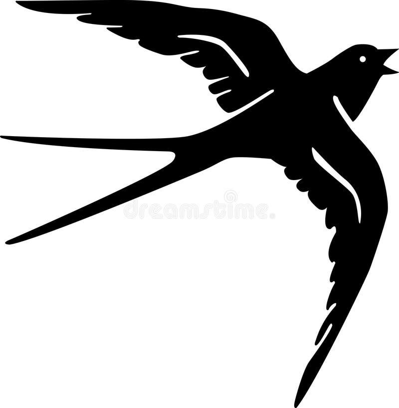 Чернота силуэта птицы ласточки стоковые фотографии rf