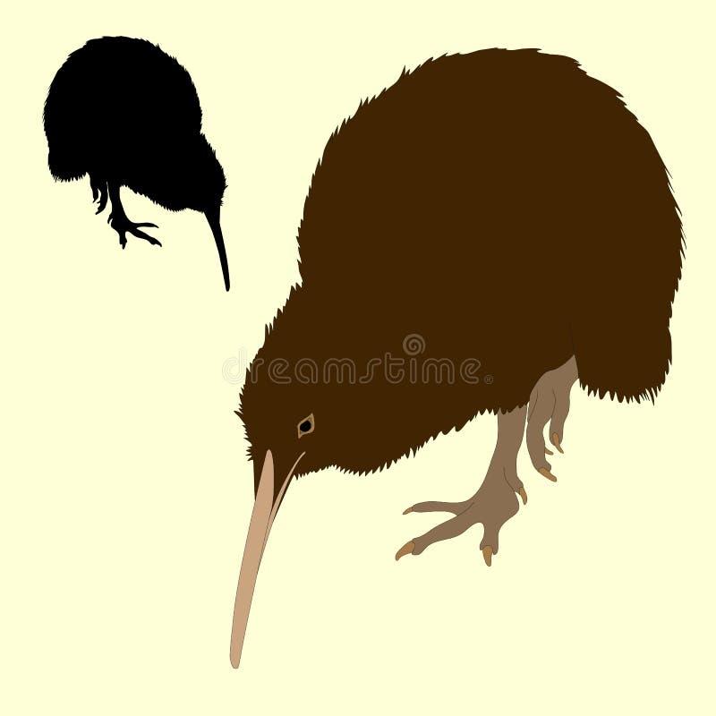 Чернота силуэта птицы кивиа реалистическая бесплатная иллюстрация