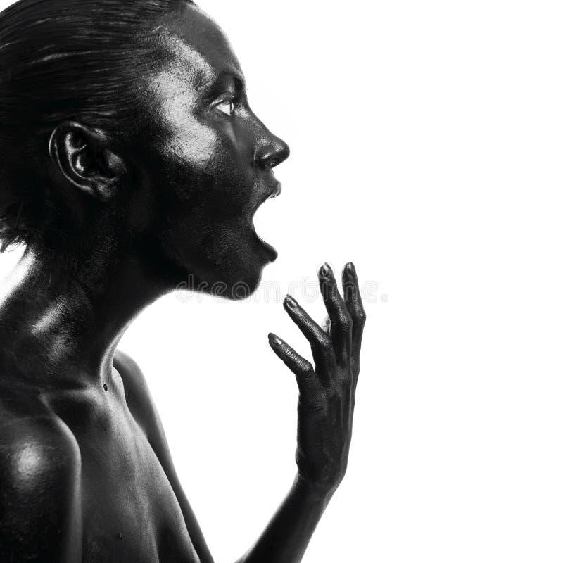 чернота составила женщину стоковое изображение