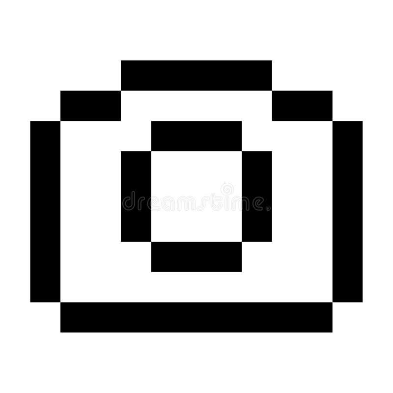 Чернота стиля искусства пиксела значка изображения объектива фотоаппарата иллюстрация вектора