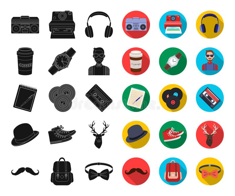 Чернота хипстера стиля, плоские значки в установленном собрании для дизайна Атрибуты и аксессуары битника vector сеть запаса симв бесплатная иллюстрация