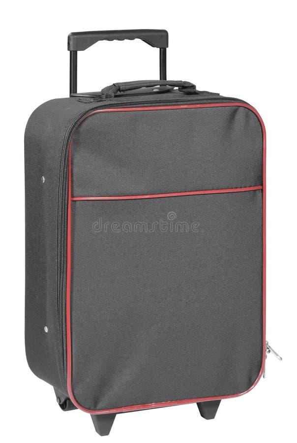 Чернота чемодана перемещения изолированная на белизне стоковое изображение