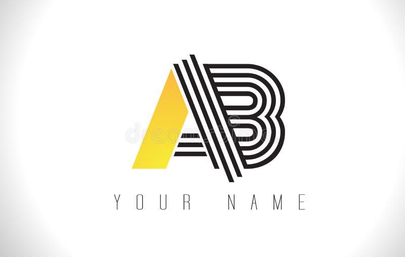 Чернота AB выравнивает логотип письма Творческая линия помечает буквами вектор Templat иллюстрация вектора