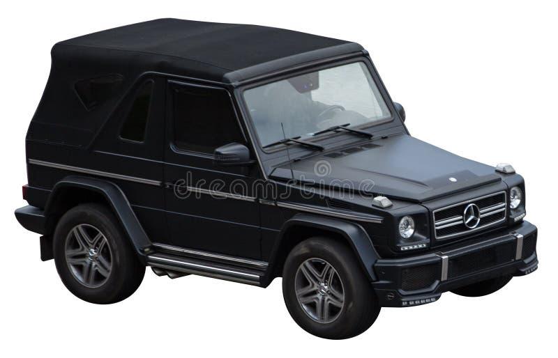 Чернота cabrio класса Мерседес g на прозрачной предпосылке стоковые фотографии rf
