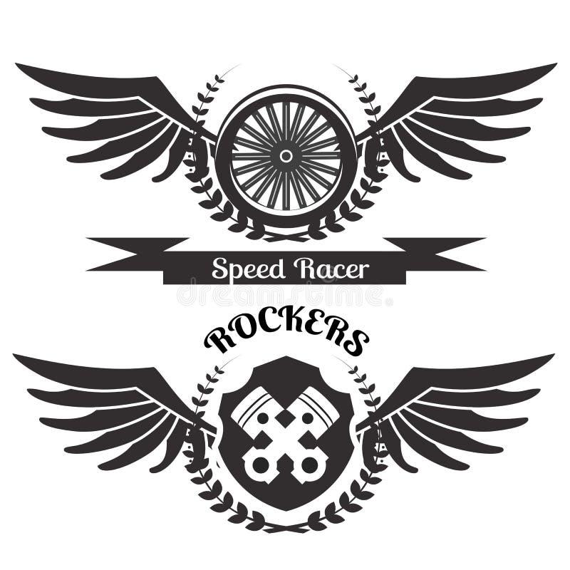 Чернота grunge мотоцикла также вектор иллюстрации притяжки corel иллюстрация вектора
