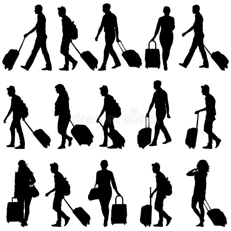 Чернота silhouettes путешественники с чемоданами дальше иллюстрация штока