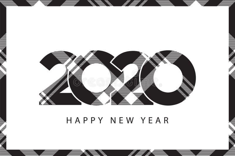 Черноты Нового Года текстуры 2020 шотландки тартана рамка проверки счастливой белая иллюстрация вектора
