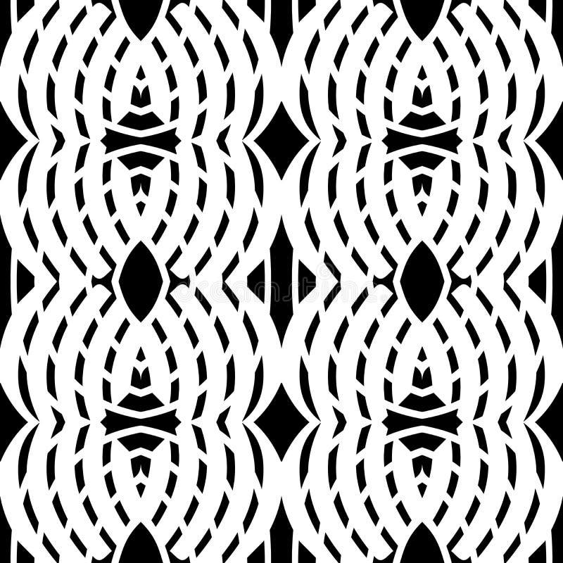 Черно-белая абстрактная предпосылка вектора и безшовный дизайн картины повторения иллюстрация штока
