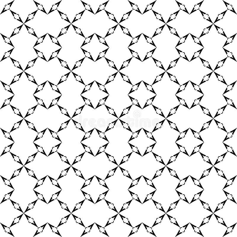 Черно-белая абстрактная предпосылка вектора и безшовный дизайн картины повторения иллюстрация вектора