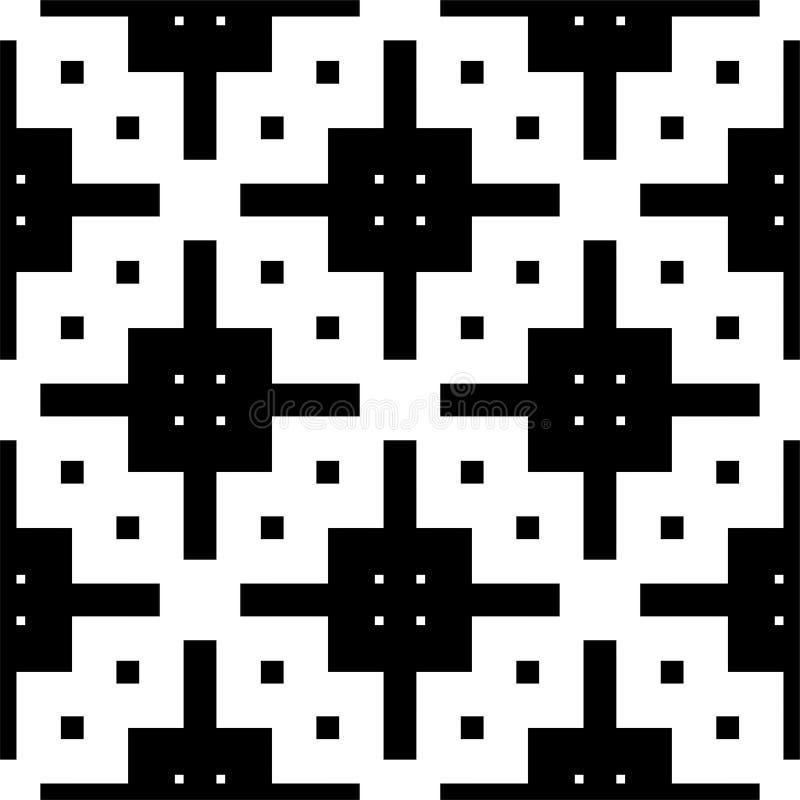 Черно-белая безшовная и геометрическая картина бесплатная иллюстрация