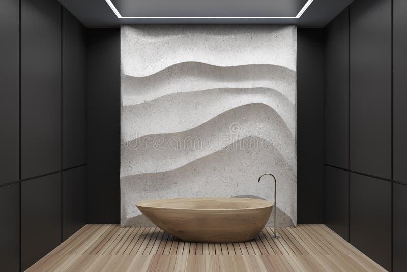 Черно-белая ванная комната, деревянный ушат бесплатная иллюстрация