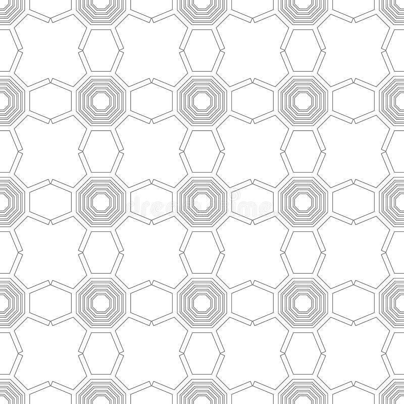 Черно-белая геометрическая безшовная картина для книжка-раскраски, страницы Абстрактная предпосылка для крышки, обоев, оформления иллюстрация штока