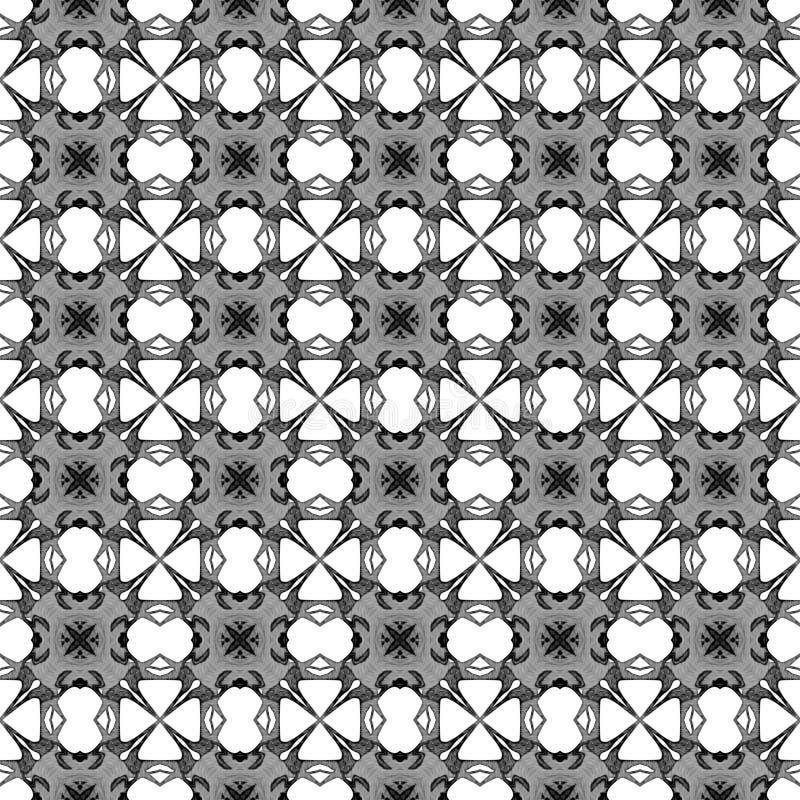 Черно-белая геометрическая безшовная картина Рука d иллюстрация штока