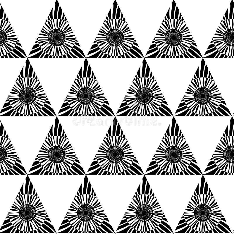 Черно-белая геометрическая безшовная картина с треугольником, абстрактной предпосылкой, вектором иллюстрация вектора