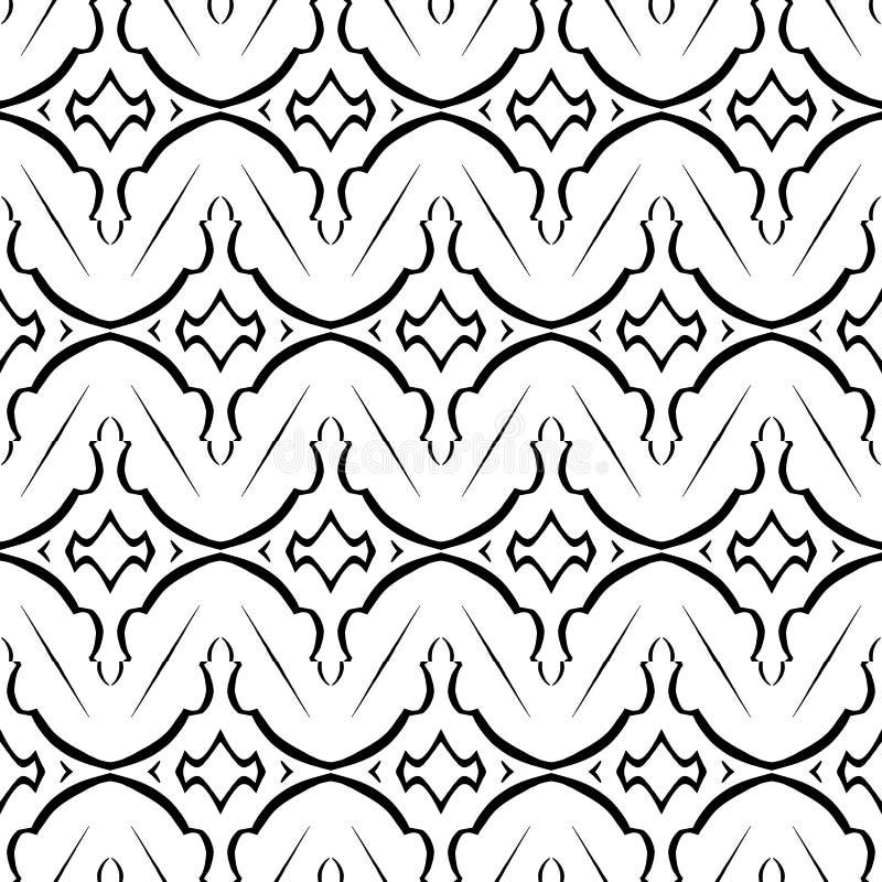 Черно-белая геометрическая картина в повторении Печать ткани Безшовная предпосылка, орнамент мозаики, этнический стиль иллюстрация вектора