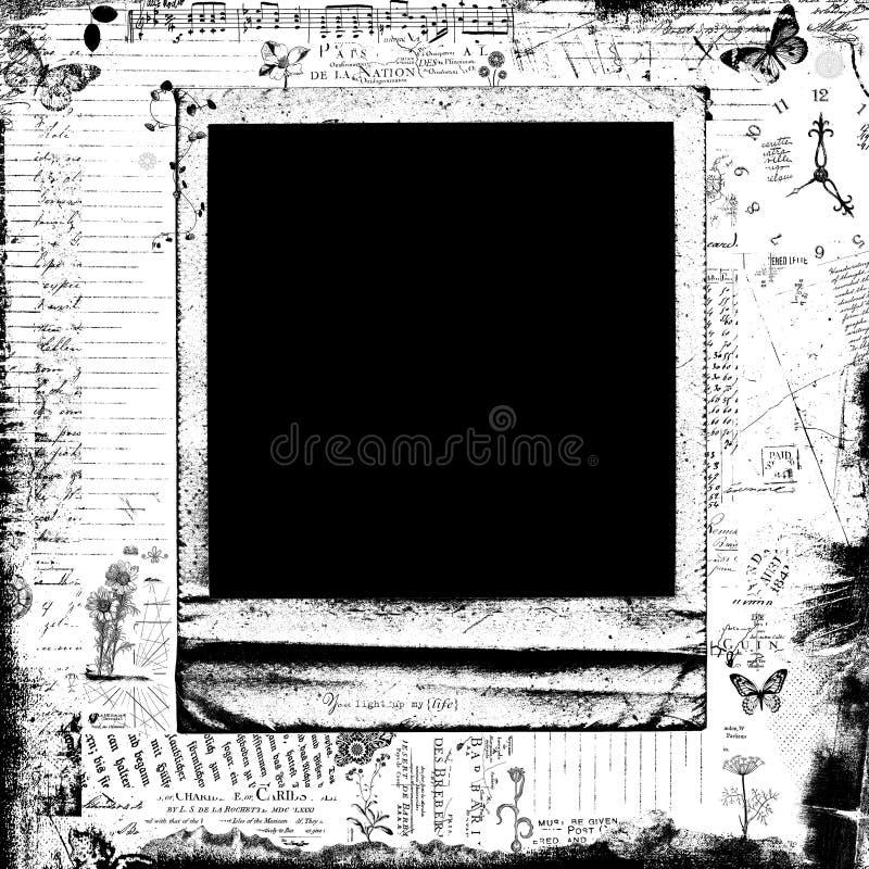 Черно-белая декоративная поляроидная предпосылка рамки иллюстрация вектора