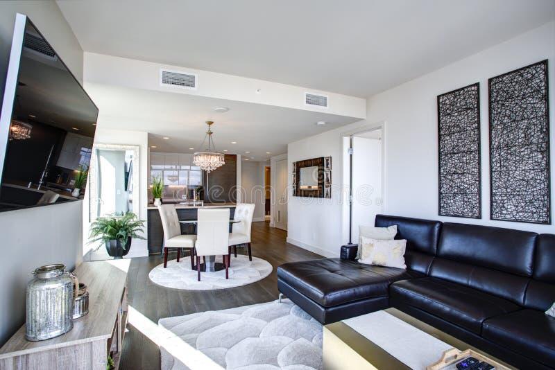 Черно-белая живущая комната с современным дизайном стоковая фотография rf