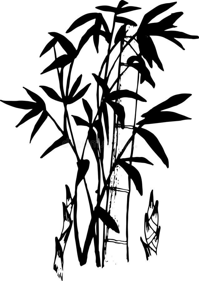 Черно-белая иллюстрация бамбуковой татуировки иллюстрация штока