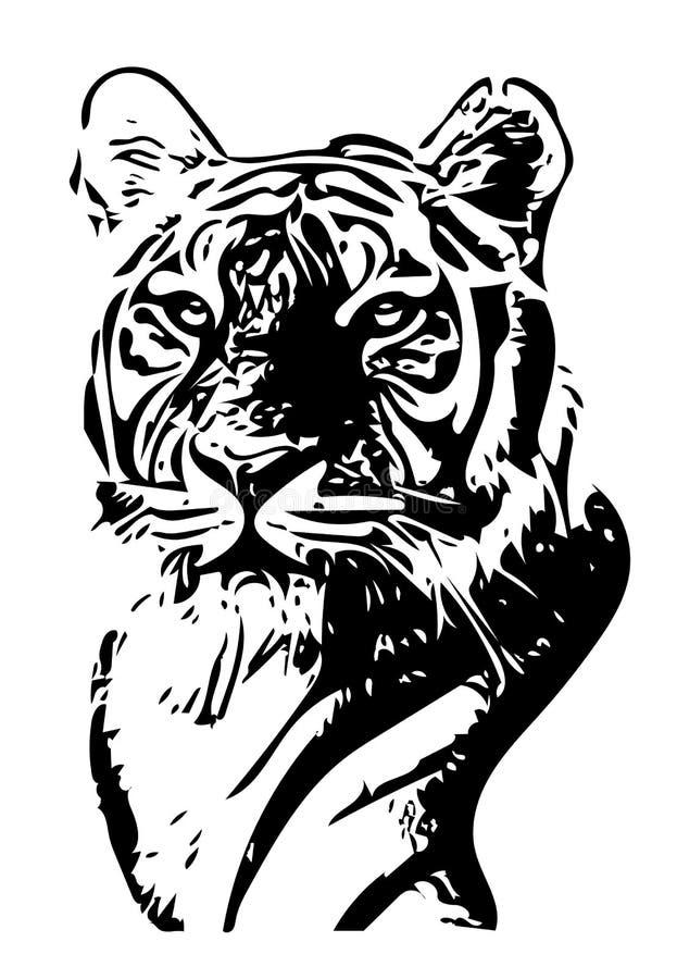 Черно-белая иллюстрация вектора портрета тигра иллюстрация вектора