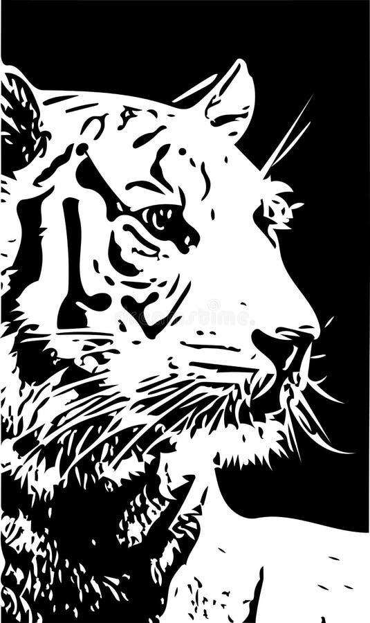 Черно-белая иллюстрация вектора портрета тигра бесплатная иллюстрация