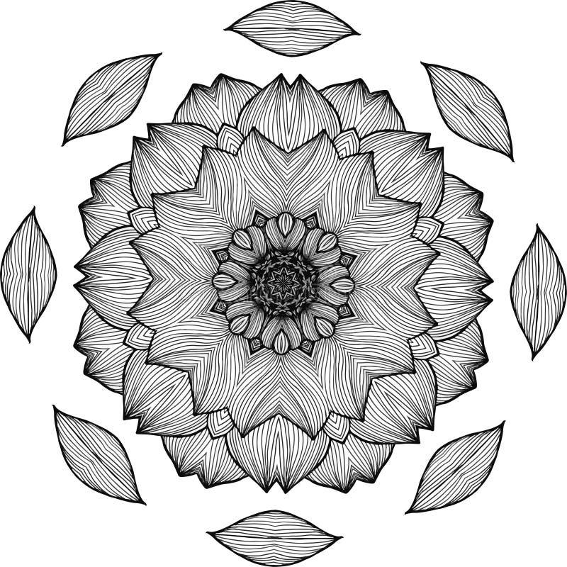 Черно-белая иллюстрация мандалы - цветка жизни Хризантема иллюстрация штока