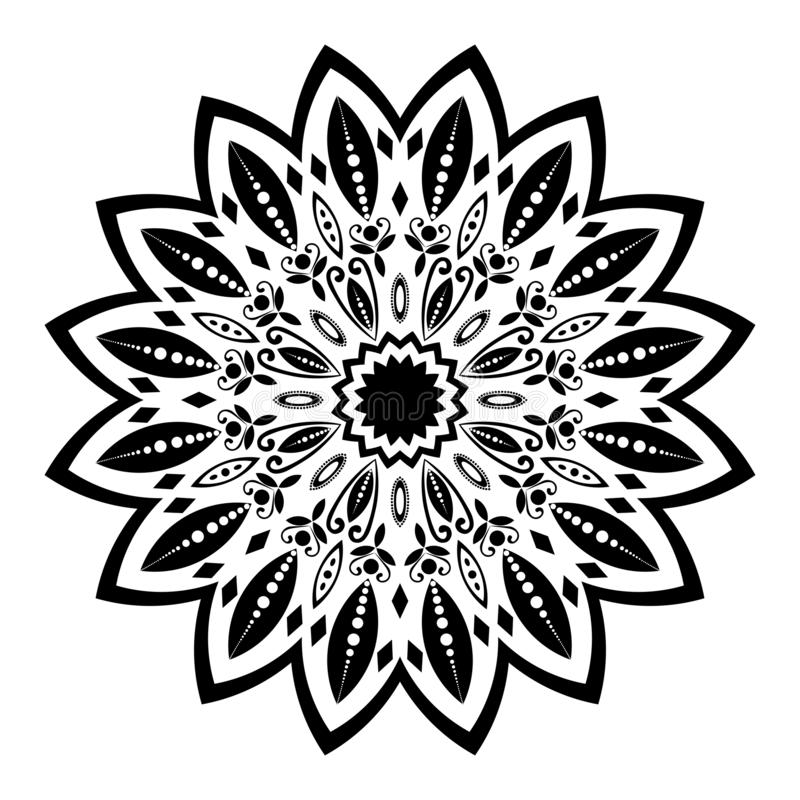Черно-белая иллюстрация мандалы иллюстрация штока