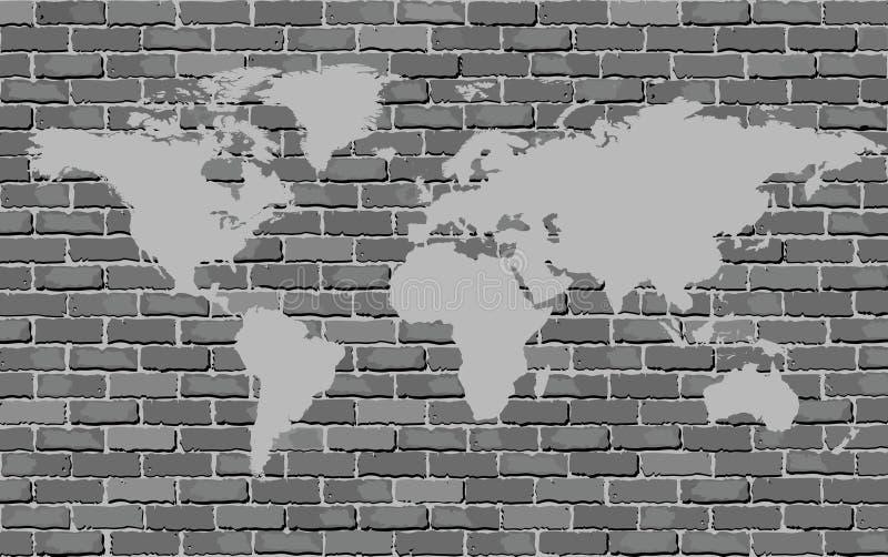 Черно-белая карта мира на кирпичной стене бесплатная иллюстрация
