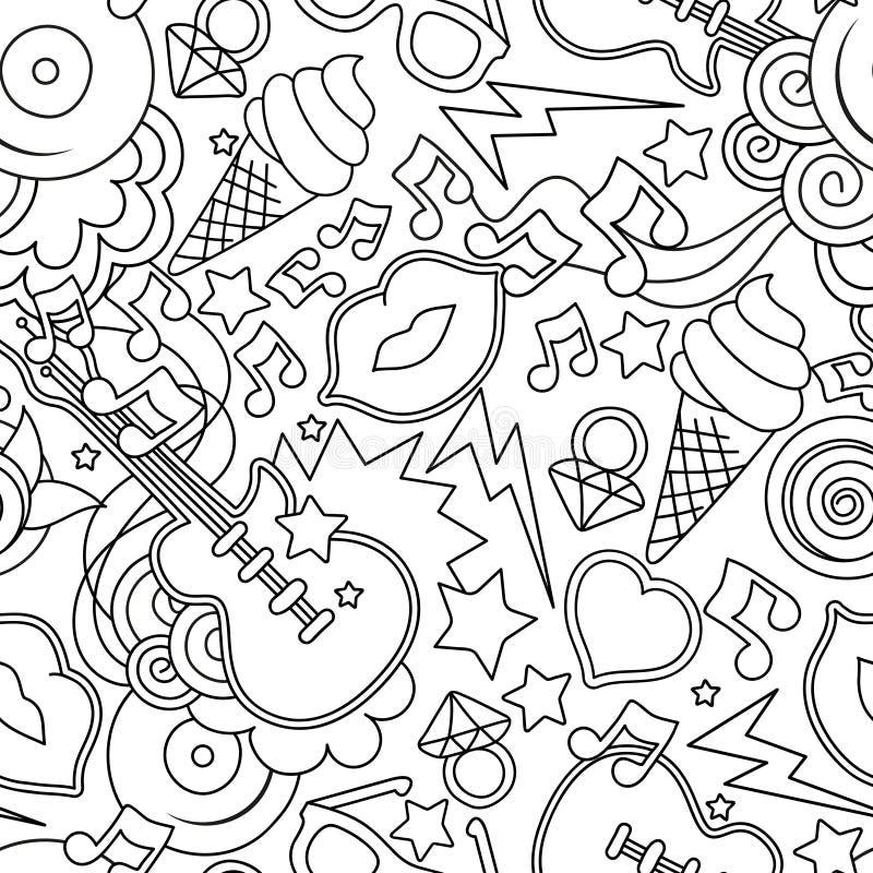 Черно-белая картина вектора искусства шипучки безшовная Предпосылка для бесплатная иллюстрация