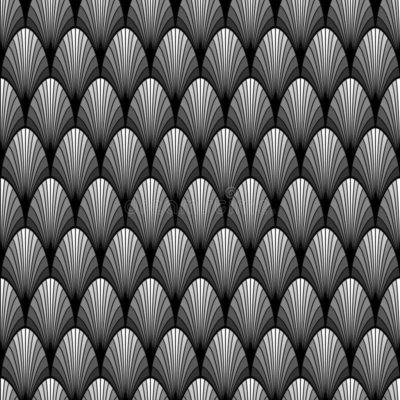 Черно-белая картина лист ладони стиля Арт Деко геометрическая безшовная, вектор иллюстрация вектора