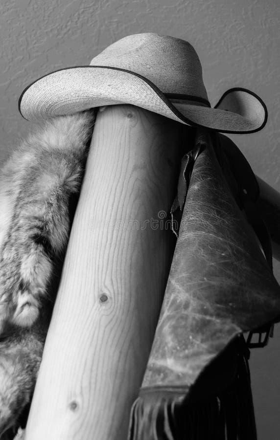 Черно-белая ковбойская шляпа садить на насест на деревянном поляке стоковые фото