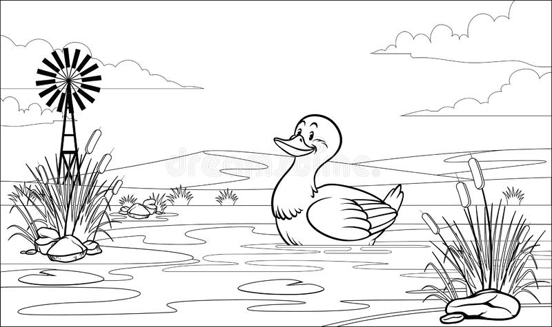 Черно-белая крася утка страницы в пруде иллюстрация штока