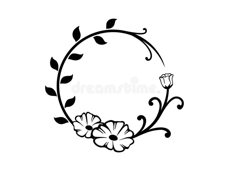 Черно-белая круглая флористическая граница иллюстрация вектора