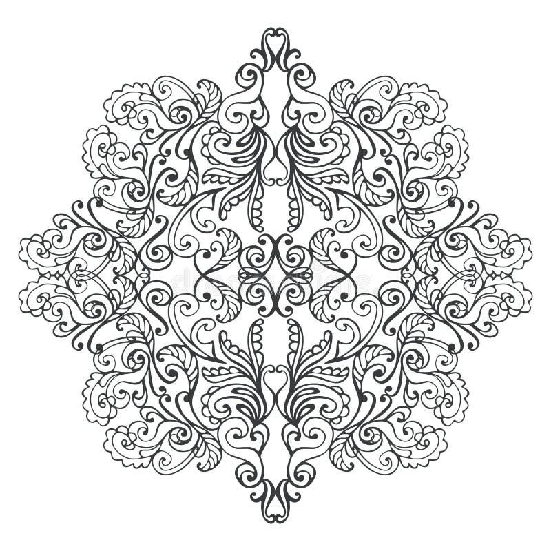 Черно-белая мандала Взрослый дизайн страницы книжка-раскраски иллюстрация вектора